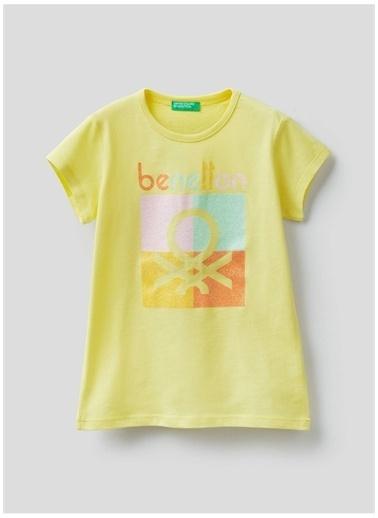 Benetton Benetton 322113096C1539 Pamuklu Bisiklet Yaka Kısa Kollu Baskılı Açık  Kadın T-Shirt Sarı